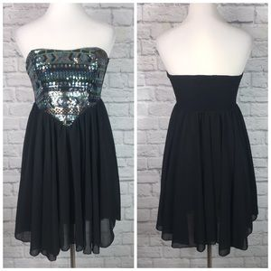 Sans Souci Black Flowy Sequin Strapless Dress Sz M